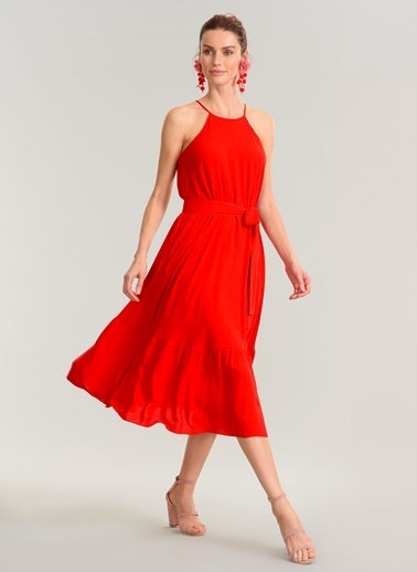People By Fabrika Uzun Elbise Kırmızı
